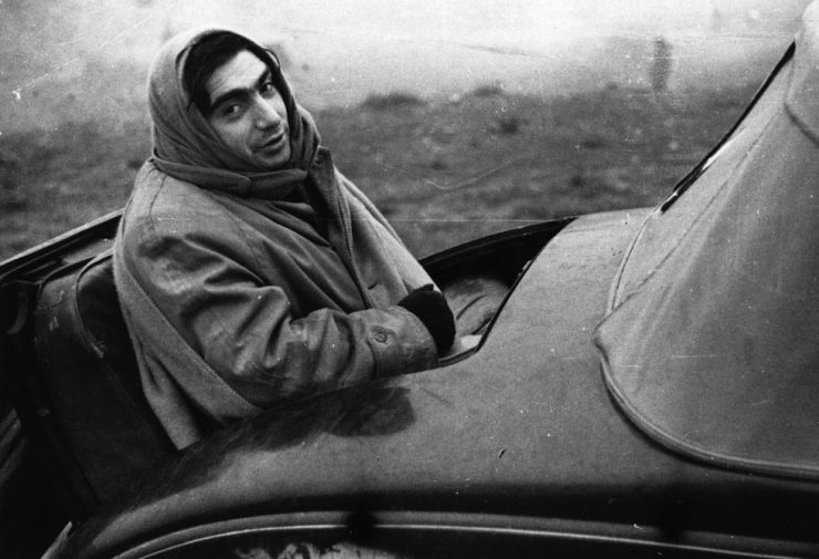Hungarian born American photo-journalist Robert Capa (born Andrei Friedmann, 1913 - 1954) in Spain during the civil war.    (Photo by London Express/Getty Images)
