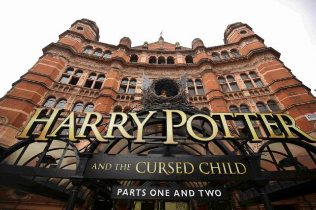 A general view shows The Palace Theatre where the Harry Potter and The Cursed Child parts One and Two play is being staged in London